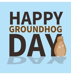Happy groundhog daylogoiconcute groundhog is vector