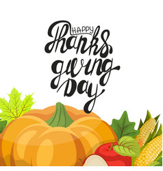 happy thanksgiving day leaves and pumpkin banner vector image