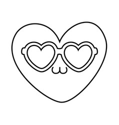 heart with sunglasses black and white vector image