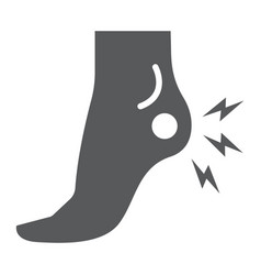 Heel pain glyph icon body and painful foot ache vector