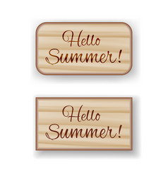 hello summer wooden boards vector image