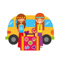 hippie couple with suitcase van car vintage vector image