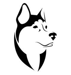husky logo portrait a black and white vector image