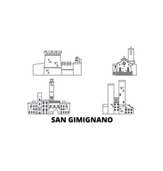 italy san gimignano line travel skyline set vector image