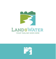 Land and water environmental logo vector