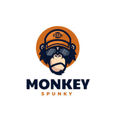 Logo spunky monkey mascot cartoon style vector