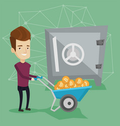 Man keeping bitcoins in the crypto cold wallet vector