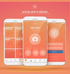 Mobile social application design concept vector