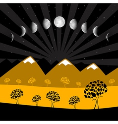 Moon Phases - Night Landscape with Trees vector image
