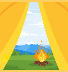 mountains forest and camp fire vector image