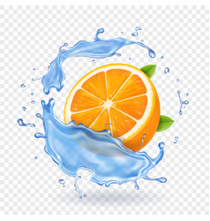 orange fruit in water splash realistic fruit vector image