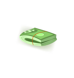 pack of green dollar paper banknotes folded in vector image
