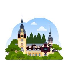 peles castle romania vector image