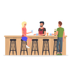 People at bar interior flat vector