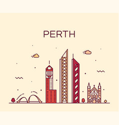 perth city skyline western australia linear vector image