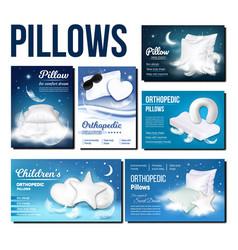 pillows for sleeping advertising banner set vector image