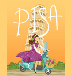 pisa cute picture with the vector image