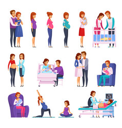 pregnancy newborn cartoon icons set vector image vector image