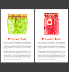 Preserved food poster lime lemon and strawberries vector