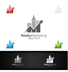 Realty marketing financial advisor logo design vector