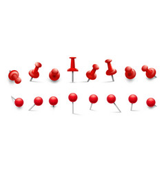 red thumbtack push pins in different angles vector image