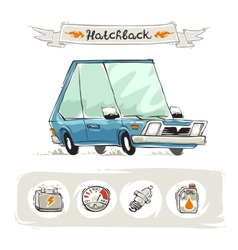 Retro Small Hatchback Set vector