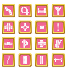 Road parts constructor icons set pink square vector