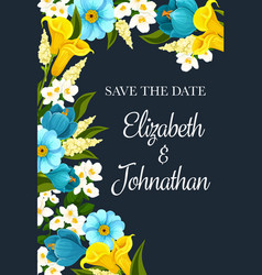 Save the date wedding invitation with blue flowers vector