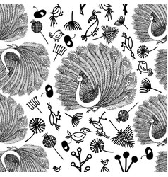 seamless pattern peacock and birdies and plants vector image