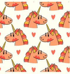 seamless pattern with rainbow unicorn heads vector image