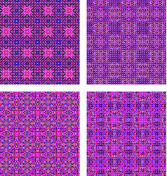 Seamless purple triangle mosaic background set vector
