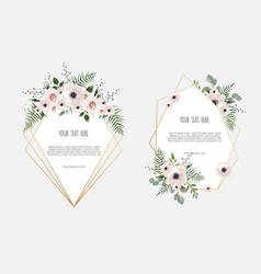 Set botanic card with wild flowers leaves spring vector