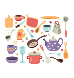 set hand drawn doodle sketch kitchen utensils vector image
