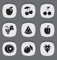 Set of 9 editable vegetarian icons includes vector