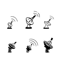 Set of hand drawing satellite dish sketch vector