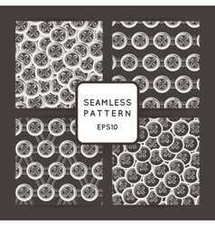Set of seamless patterns with buttons vector