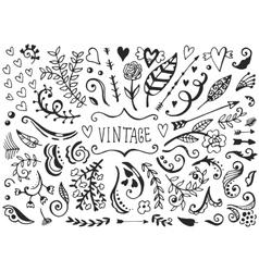 set vintage sketch elements vector image