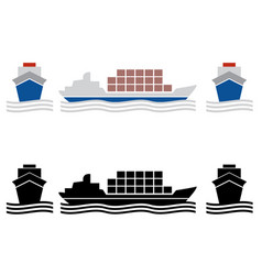 ship cargo icons vector image
