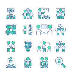Simple set team work icon linear fill sign vector