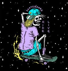 skeleton on a skateboard label for typography vector image