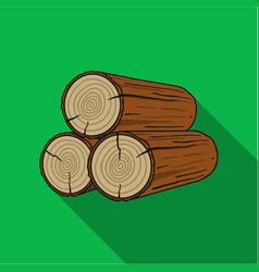 stack of logs icon in flat style isolated on white vector image