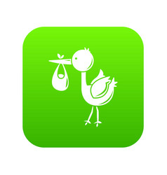 stork child icon green vector image