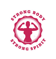 Strong body strong spirit design with fit girl vector