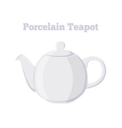Teapot porcelain teakettle cartoon flat style vector