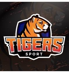 Tiger shield sport mascot template Premade vector image