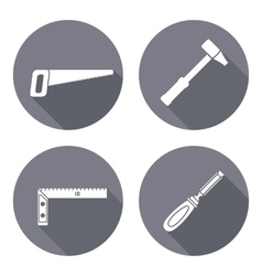 Tool icons set Saw hammer chisel angle Repair vector image