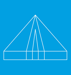 Tourist triangle tent icon outline style vector