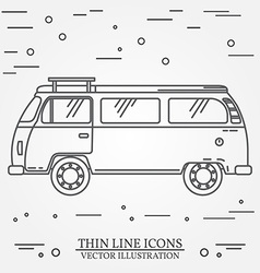 Travel bus family camper thin line Traveler truck vector
