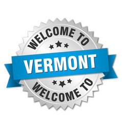 Vermont 3d silver badge with blue ribbon vector