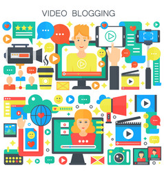video blogging webinar education male and female vector image